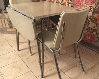 Vintage 1950s Chrome Birch Formica Drop leaf dinette Set table Chairs Complete