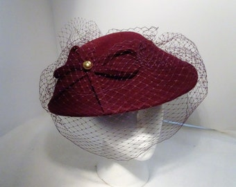 1930's Reproduction Woman's Millinery/Hat Felt Wine