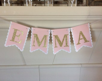 Baby Name Banner> Nursery Decor> Photo Prop> New Baby Photo Prop> Pink and Gold Banner> Baby Shower Banner> Princess Banner>Girl Party Ideas