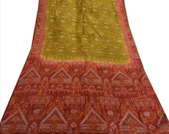 KK Pure Silk Saree Green Printed Sari Paisley Craft Fabric