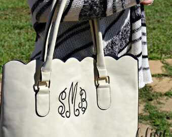 Monogrammed Bag- White personalized purse tote bag