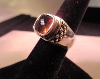 Michael Dawkins Sterling Silver Burnt Orange Gemstone Ring - 8