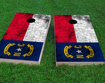 Worn State Flag (North Carolina) Themed 2x4 Custom Cornhole Board Set with bags | Custom Corn Hole | Bag Toss | Bean Bag Toss