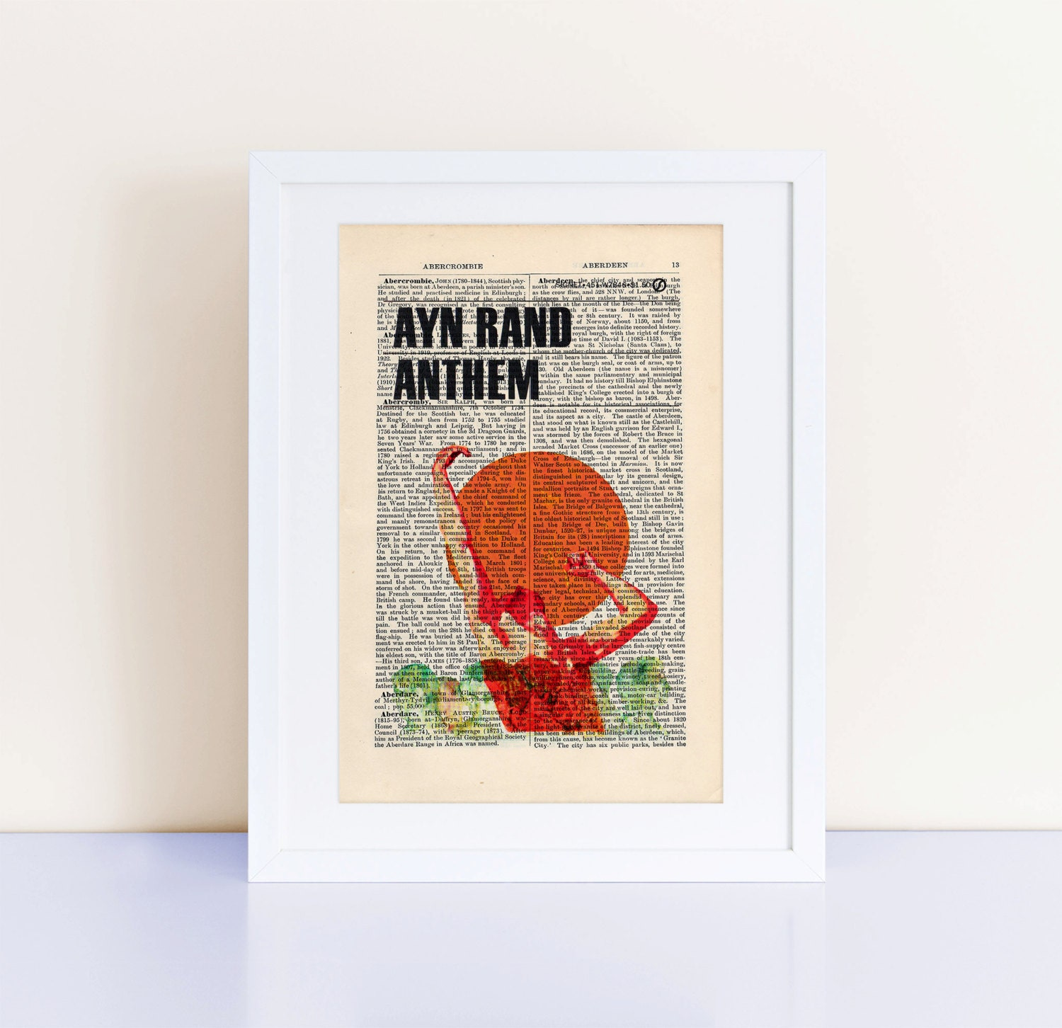 Ayn Rand Book Cover Art : Anthem by ayn rand print on an antique page book cover art