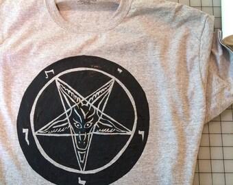 Hand Painted Baphomet Satanism Tshirt Tee Symbol Devil Pentagram Inverted Religion