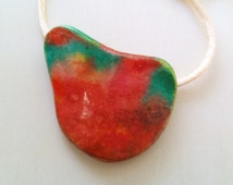 Watercolor pendant  paper pendant  hand painted necklace   paper jewelry  paper bead necklace  red & green pendant  layered paper bead