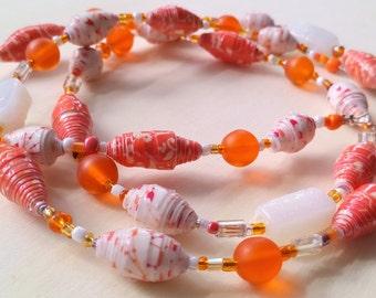 Paper bead Necklace  paper bead Jewelry  orange Paper bead  beaded necklace  orange paper beads and vintage glass beads  ecofriendly jewlery
