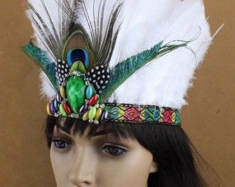 Indian headband, Native American, Feathers Headband, Indian Feathers Headband, Indian feathers