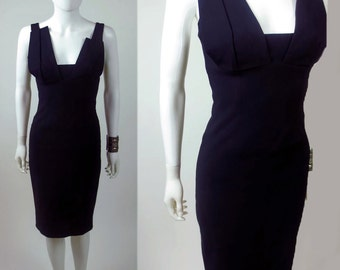 90s architectual avant garde designer luxe asymmetrical stretch crepe dress