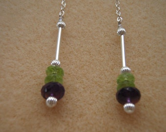 Peridot, Amethyst and Sterling Silver  Dangle Earrings