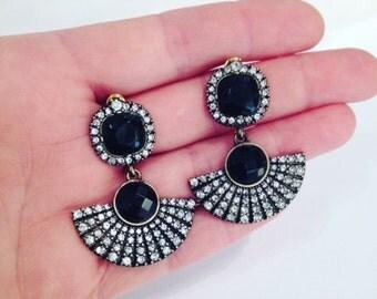 Black Jewelled Gatsby Style Earrings - UK SELLER