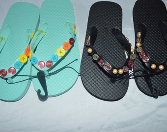 Two Pairs Of Girls Flip Flops Size 11-12