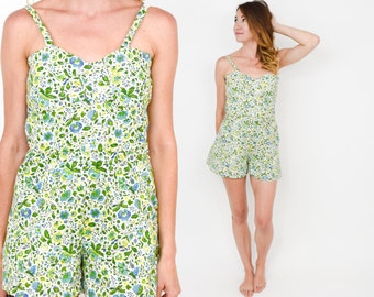 50s Green Floral Print Swimsuit   Cotton Print Romper   One Piece Bathing Suit   Small