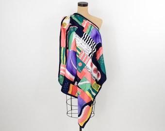 Op Art Colorful Silk Scarf