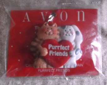"Vintage Avon Gift Collection ""Purrfect Friends"" Key Chain"