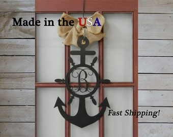 Large Anchor with Vine Monogram Wheel, Door Decor, Front Door, Sailor, Anchor Decor, Metal, Sign, Wedding Decor, Nautical Anchor, S1083