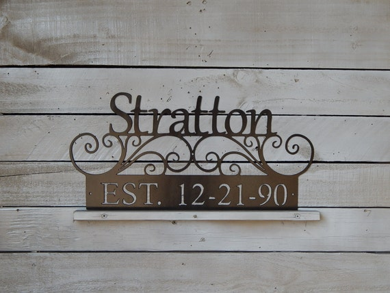 Family Last Name Sign Established Wedding Date By Evyanndesigns