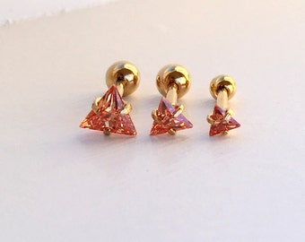 Cartilage Tragus Earring. Triangle Cartilage Tragus Earring. 16 gauge. 3 mm 4 mm 5 mm. S1.