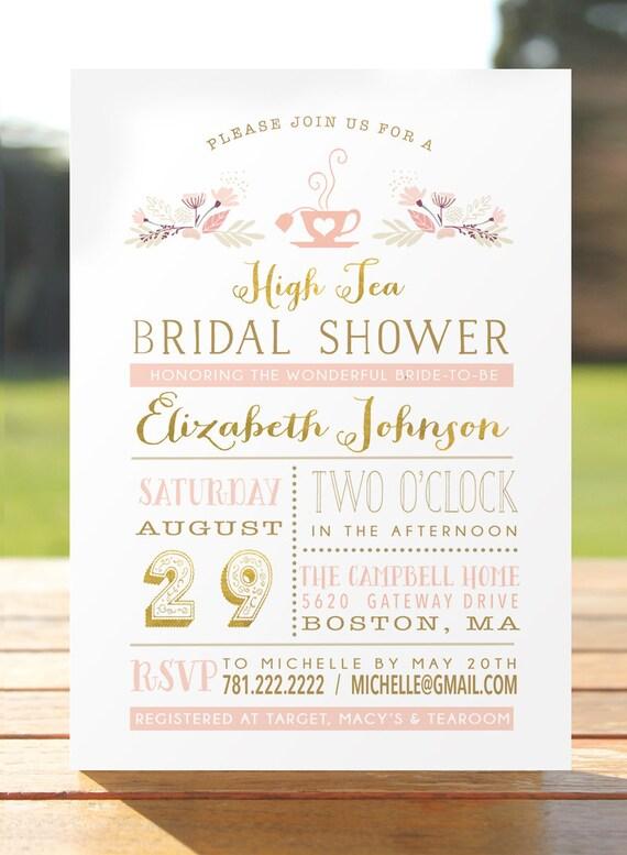 Bridal Tea Party Invitation Bridal Shower Invite Bridal