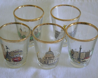 Five Shot Glasses Featuring Iconic Views of London.