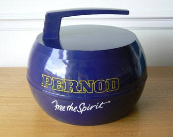 Gorgeous Deep Blue Pernod Ice Bucket in the Shape of a Curling Stone