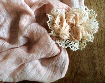 Organic Cotton Muslin Square, Romantic Lace Rosette, Hand Dyed Using Plant Based Dyes, Lovely Shades Of Pink, Very Versatile, Blanket, Scarf
