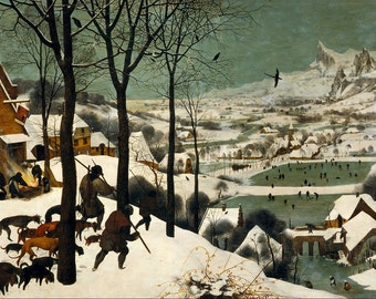 Hunters in the Snow by Pieter Bruegel the Elder- Famous Art - Handmade Oil Painting on Canvas
