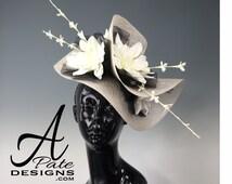 Custom Order Gray Sinamay Handblocked Headband Fascinator Hat - Kentucky Derby Hat, Easter Hat, Royal Ascot Hat, Couture Millinery