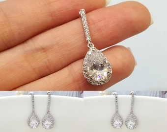 Set of 3, Four Earrings, AAA Cubic Zirconia Tear Drop Wedding bridal Earrings, CZ bridesmaid earrings gifts