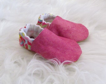 Pink baby shoes with genuine leather suede, crib shoes, baby shoes, pink baby shoes, handmade baby shoes, reclaimed leather, leather