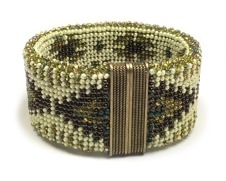 Crocheting Bracelets : Brass Motifs Reversible Bead Crochet Bracelet by AnnBensonBeading