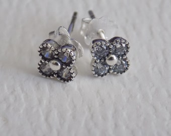 SUMMER SALE Sterling Silver oriental blossom pave studs earrings