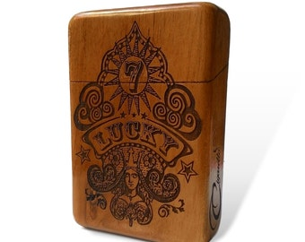 Lucky 7 Java Teak wood Cigarette Case Engraved