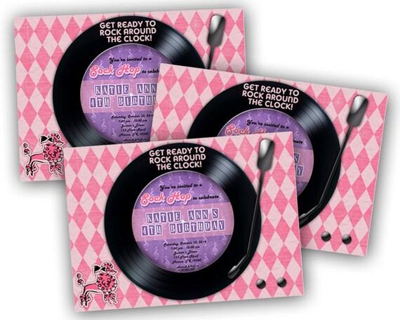 Printable 50s Birthday Sock Hop Invitation Diy Sock Hop