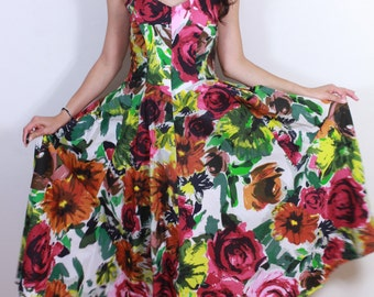 Vintage Strapless Cotton New Look Floral Dress