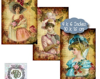 6 Shabby Vintage Lady Tags