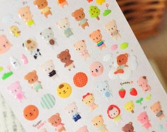 Cute Baby Bear Epoxy Stickers 1 Sheet
