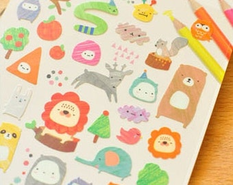 Gorgeous Hand Drawing Animal Stickers 1 Sheet