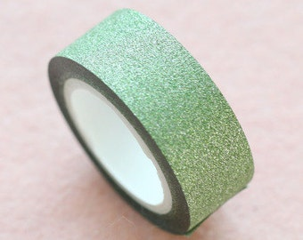 Lovely Green Glitter Tape 10M - Green Glitter Washi Tape 10M - Green Sparkly Deco Tape