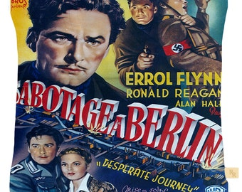 """Printed film cushion cover featuring Errol Flynn in """"Sabotage a Berlin"""" a really unusual cover and a great gift or collectors item"""