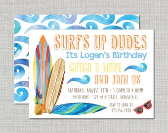 Birthday Party Invitation // Surfs Up Party Theme // Kids Birthday Party // Kids Surfing Party // Birthday Invitation / Surfing Party Invite