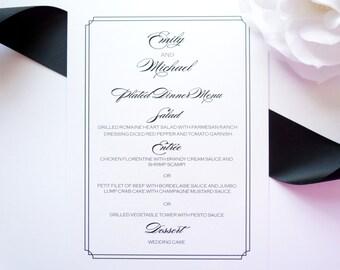 Elegant Menu Card- Elegant Menu, Black Wedding Menu, Dinner Menu, Printed Wedding Menu - DEPOSIT