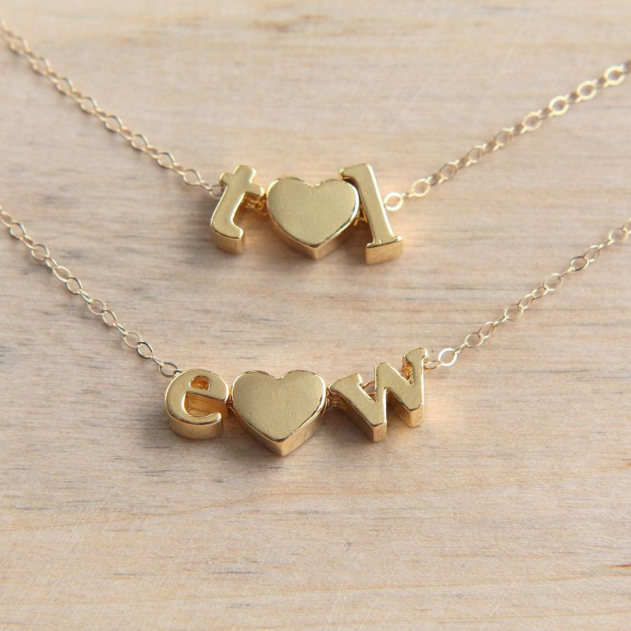 heart necklace gold letter necklace love necklace by jkwstudio. Black Bedroom Furniture Sets. Home Design Ideas