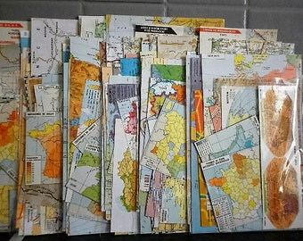 world map - assorted packing 40 + different pieces of paper - collage - scrapbooking, altered art ...french vintage