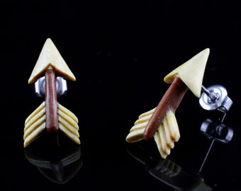 "Hand Carved- ""Arrow"" - Gentawas Wood with Sabo Wood Inlay Stud Earring - Freedom"