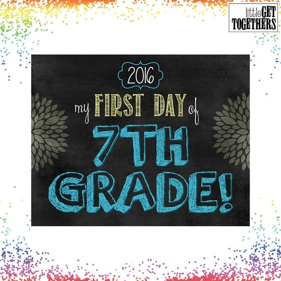 First Day Of School Sign Photo Picture Print - Back to School Sign - 8x10 Sign - INSTANT DOWNLOAD - Seventh Grade Sign 7th - Blue and Yellow