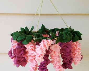 Pink wisteria baby mobile, READY TO SHIP  flower mobile, baby girl mobile, nursery decor