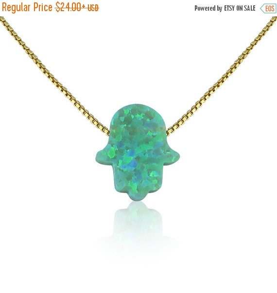 Opal Hamsa Necklace Green Opal on a Gold Plated Sterling Silver Chain • Safe to get Wet • Always Lowest Price Opal Hamsa on Etsy