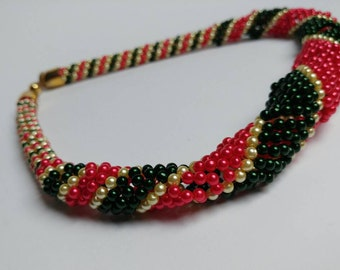 Vintage beads necklace Christmas