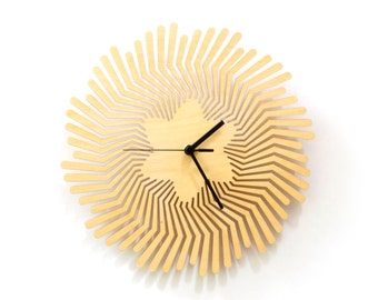Supernova - unique handmade wooden wall clock, wall art